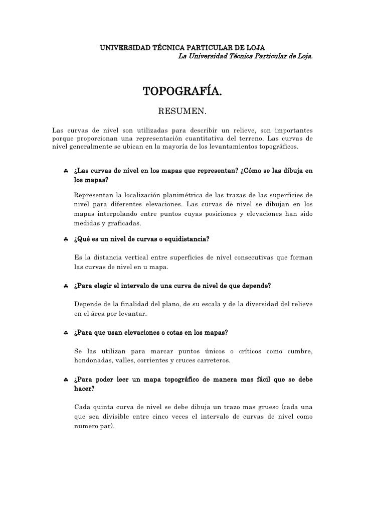 UNIVERSIDAD TÉCNICA PARTICULAR DE LOJA<br />La Universidad Técnica Particular de Loja.<br />TOPOGRAFÍA.<br />RESUMEN.<br /...