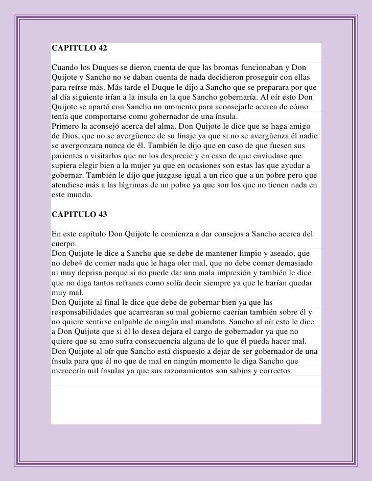 CAPITULO 42Cuando los Duques se dieron cuenta de que las bromas funcionaban y DonQuijote y Sancho no se daban cuenta de na...