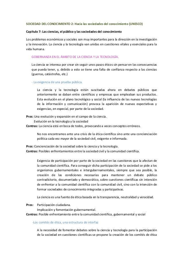 SOCIEDAD DEL CONOCIMIENTO 2: Hacia las sociedades del conocimiento (UNESCO)Capítulo 7: Las ciencias, el público y las soci...