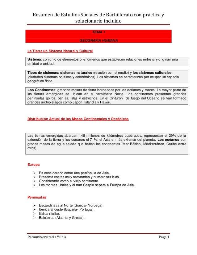 Resumen de Estudios Sociales de Bachillerato con práctica ysolucionario incluidoParauniversitaria Yunis Page 1TEMA 1GEOGRA...