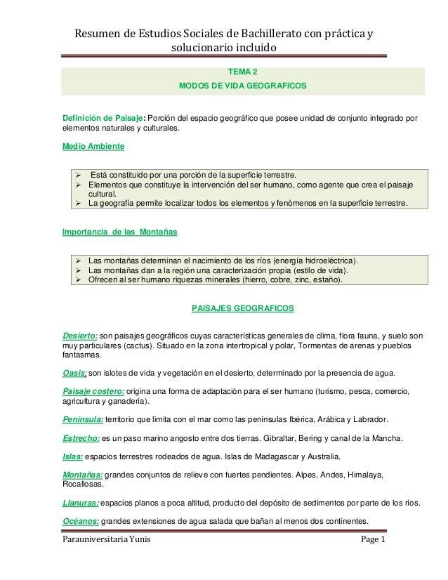 Resumen de Estudios Sociales de Bachillerato con práctica ysolucionario incluidoParauniversitaria Yunis Page 1TEMA 2MODOS ...