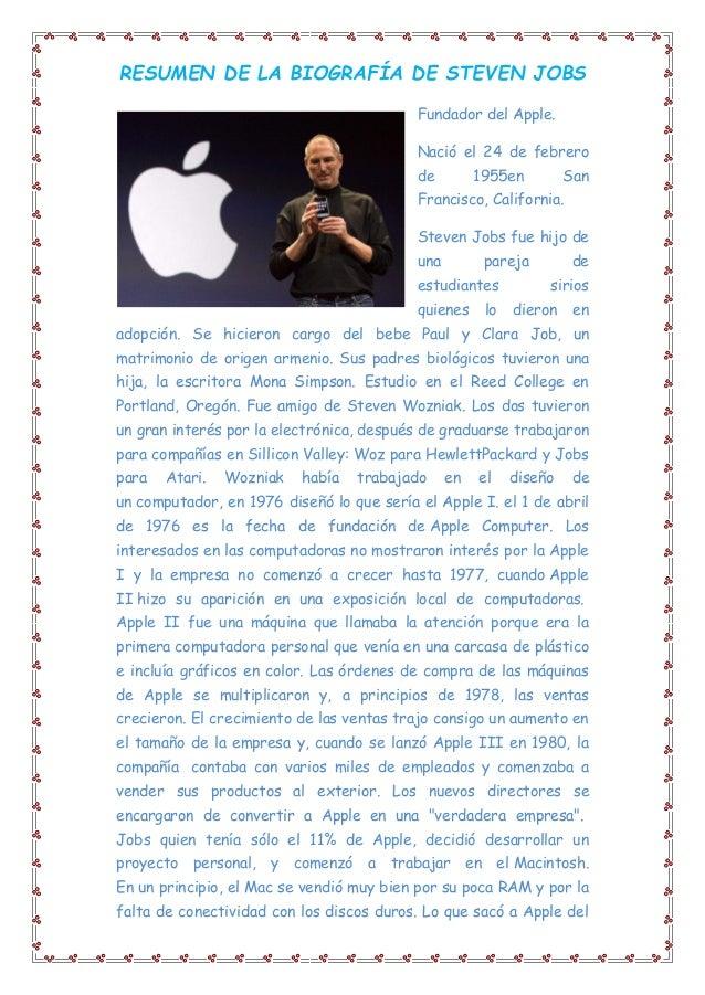 3a3badd0f01 RESUMEN DE LA BIOGRAFÍA DE STEVEN JOBS Fundador del Apple. Nació el 24 de  febrero ...