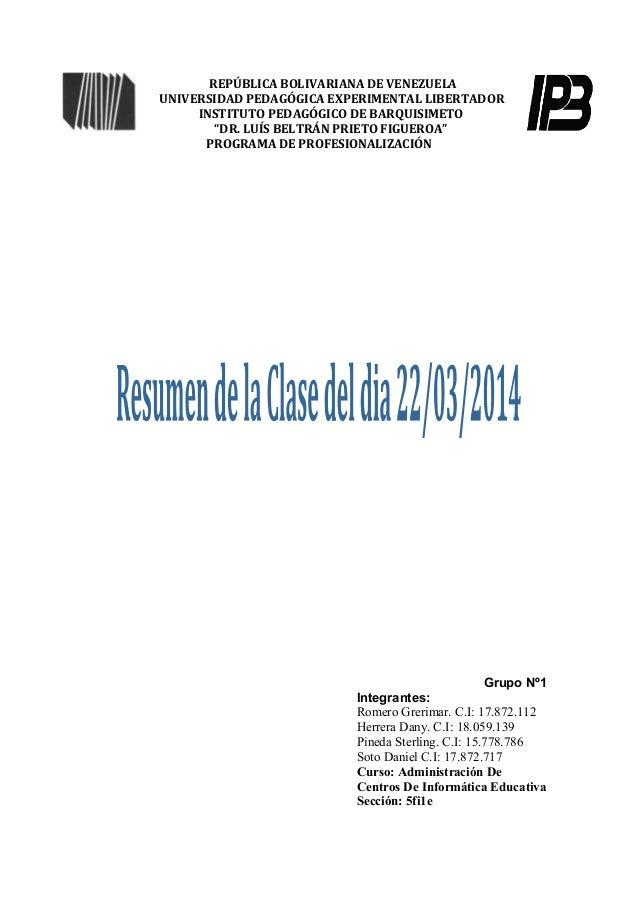 """REPÚBLICA BOLIVARIANA DE VENEZUELA UNIVERSIDAD PEDAGÓGICA EXPERIMENTAL LIBERTADOR INSTITUTO PEDAGÓGICO DE BARQUISIMETO """"DR..."""