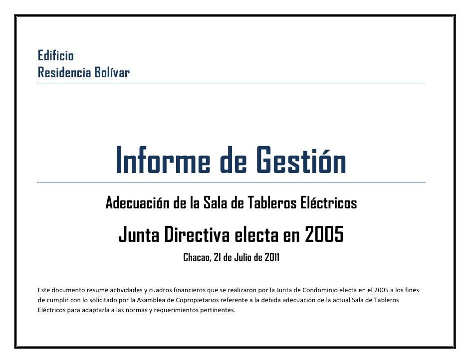 EdificioResidencia Bolívar                          Informe de Gestión                       Adecuación de la Sala de Tabl...