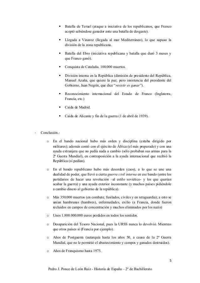 Resumen de la Guerra Civil Española