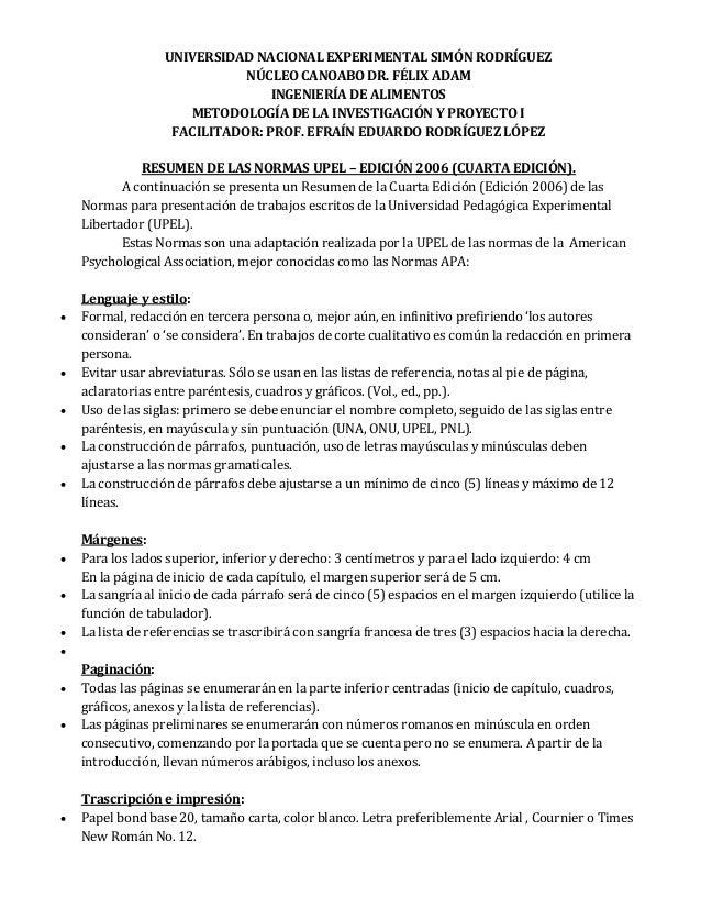 Resumen de las normas upel cuarta edicion 2006