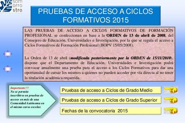Resumen De Las Pruebas De Acceso A Ciclos 2015 País Vasco