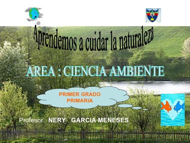 Aprendemos a cuidar la naturaleza AREA : CIENCIA AMBIENTE Profesor  NERY  GARCIA MENESES PRIMER GRADO PRIMARIA