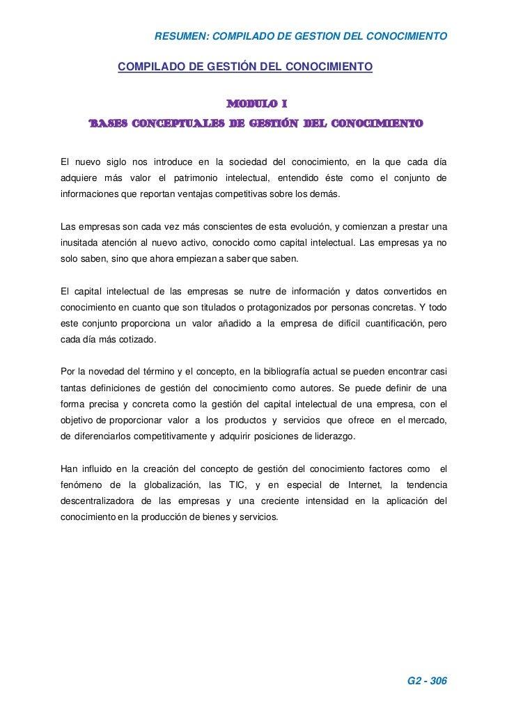 COMPILADO DE GESTIÓN DEL CONOCIMIENTO<br />MODULO I<br />BASES CONCEPTUALES DE GESTIÓN DEL CONOCIMIENTO<br />El nuevo sigl...