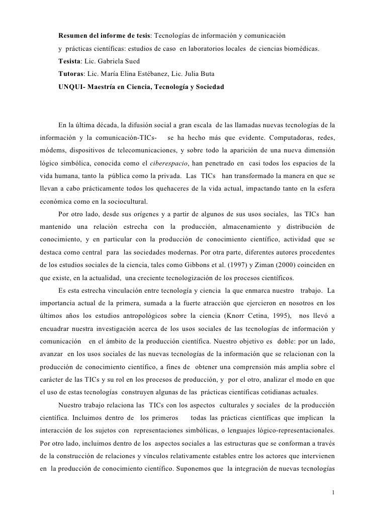 Resumen del informe de tesis: Tecnologías de información y comunicación       y prácticas científicas: estudios de caso en...