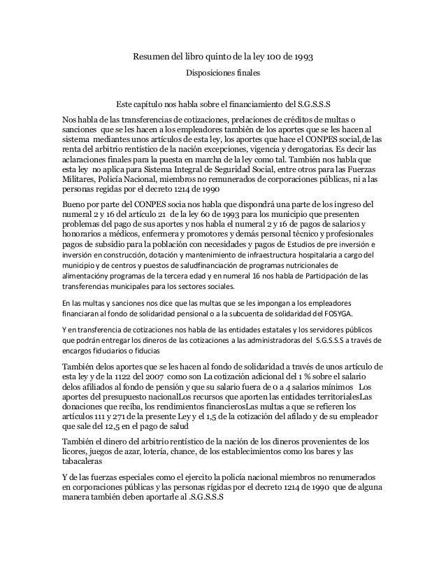 resumen libro 5 de la ley 100 de 1993