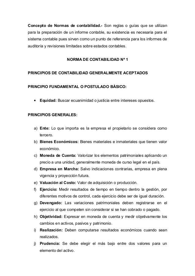 Resumen de los principios de contabilidad generalmente aceptados