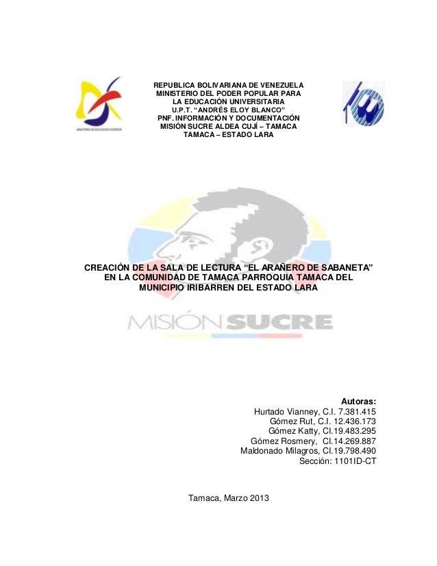 """REPUBLICA BOLIVARIANA DE VENEZUELAMINISTERIO DEL PODER POPULAR PARALA EDUCACIÓN UNIVERSITARIAU.P.T. """"ANDRÉS ELOY BLANCO""""PN..."""