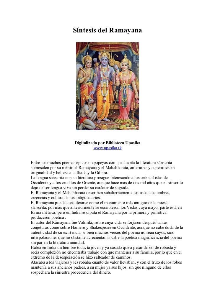 Síntesis del Ramayana                         Digitalizado por Biblioteca Upasika                                   www.up...