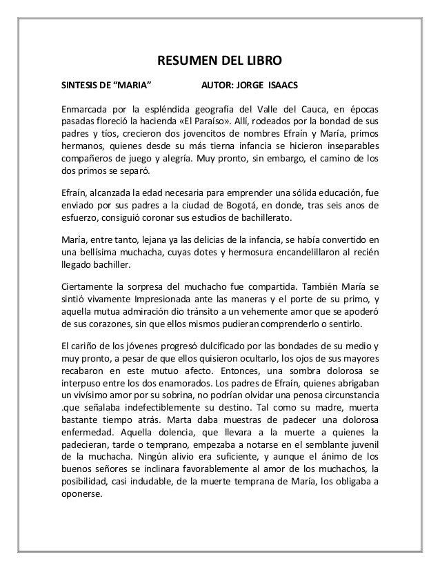 Resumen De Mi Obra Literaria De Maria Completa