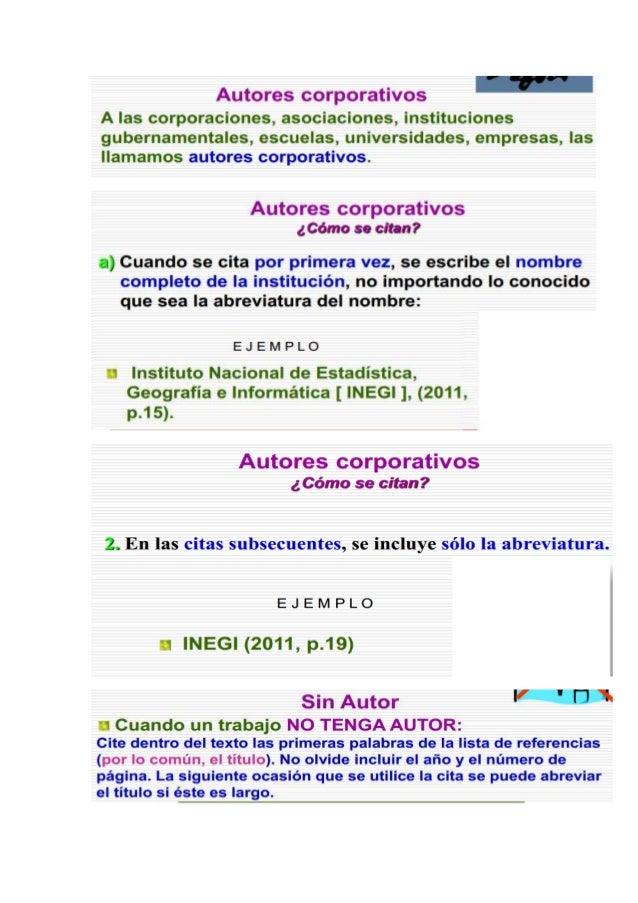 Resumen de normas APA para elaboracion de marcos teoricos