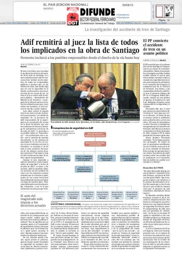 23/08/13EL PAIS (EDICION NACIONAL) MADRID Prensa: Diaria Tirada: 400.212 Ejemplares Difusión: 324.814 Ejemplares Página: 1...