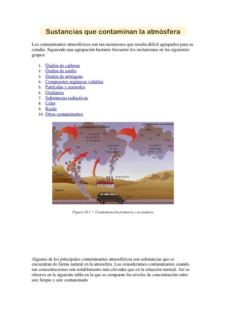 Sustancias que contaminan la atmósferaLos contaminantes atmosféricos son tan numerosos que resulta difícil agruparlos para...