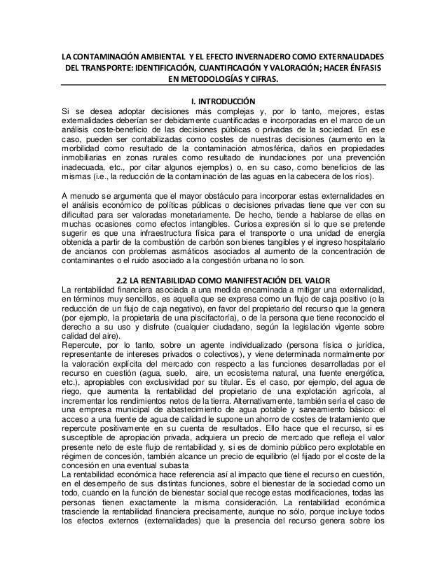 LA CONTAMINACIÓN AMBIENTAL Y EL EFECTO INVERNADERO COMO EXTERNALIDADES DEL TRANSPORTE: IDENTIFICACIÓN, CUANTIFICACIÓN Y VA...
