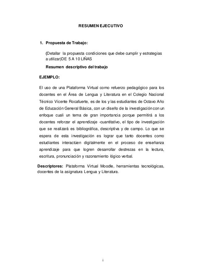 i resumen ejecutivo 1 propuesta de trabajo detallar la propuesta condiciones que debe