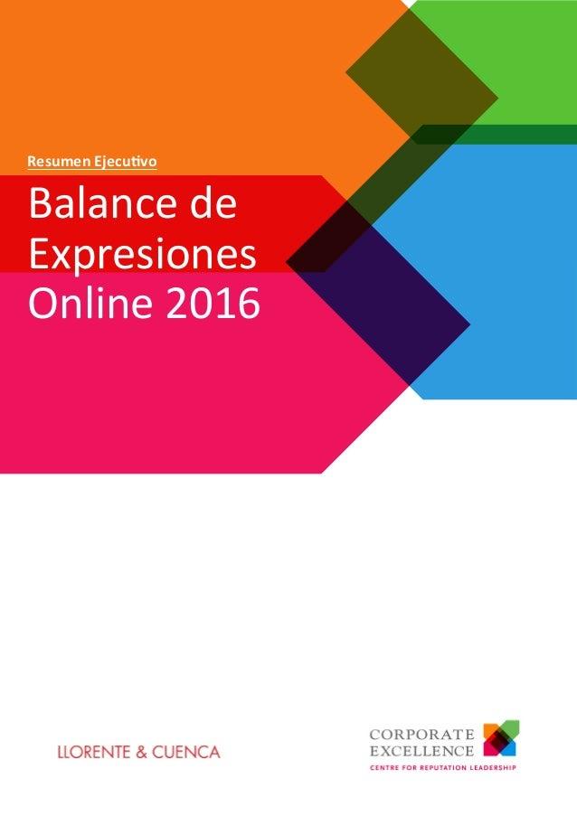 Balance de Expresiones Online 2016 Resumen Ejecutivo