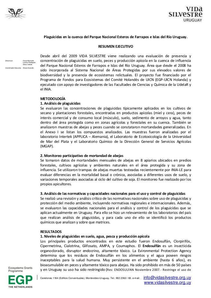 Plaguicidas en la cuenca del Parque Nacional Esteros de Farrapos e Islas del Río Uruguay.                                 ...