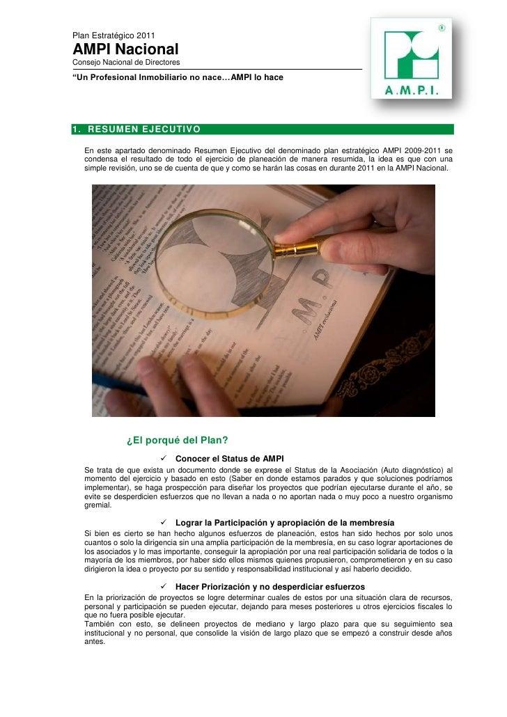 centertop<br />RESUMEN EJECUTIVO<br />En este apartado denominado resumen ejecutivo del denominado plan estratégico AMPI 2...