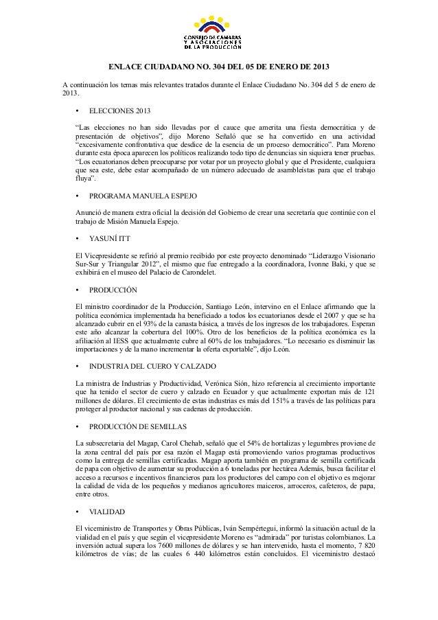 ENLACE CIUDADANO NO. 304 DEL 05 DE ENERO DE 2013A continuación los temas más relevantes tratados durant...
