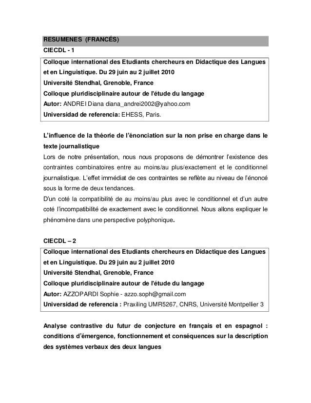RESUMENES (FRANCÉS) CIECDL - 1 Colloque international des Etudiants chercheurs en Didactique des Langues et en Linguistiqu...