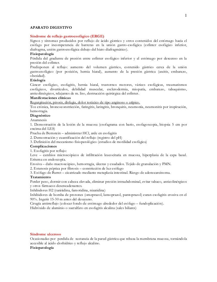 1APARATO DIGESTIVOSíndrome de reflujo gastroesofágico (ERGE)Signos y síntomas producidos por reflujo de ácido gástrico y o...