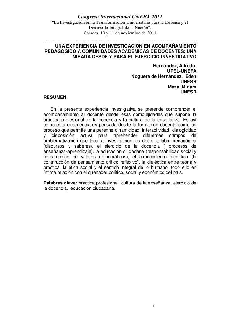 """Congreso Internacional UNEFA 2011   """"La Investigación en la Transformación Universitaria para la Defensa y el             ..."""