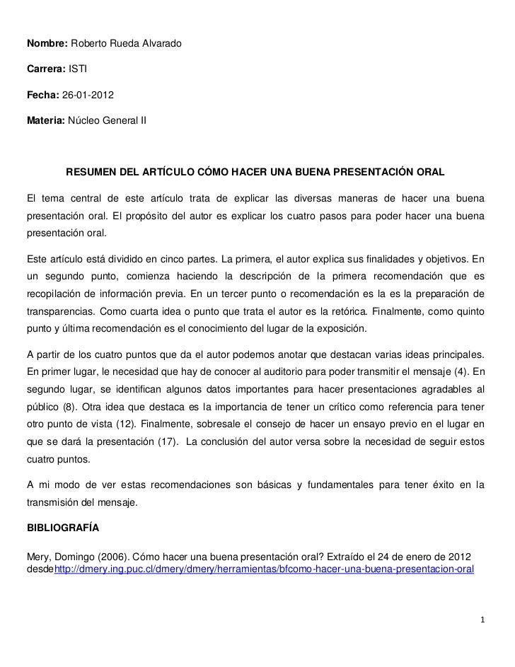 Nombre: Roberto Rueda AlvaradoCarrera: ISTIFecha: 26-01-2012Materia: Núcleo General II         RESUMEN DEL ARTÍCULO CÓMO H...