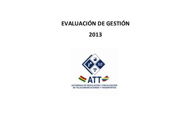 EVALUACIÓN DE GESTIÓN 2013