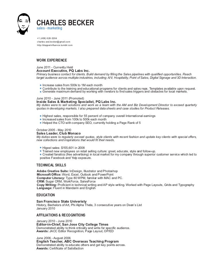 how to write sales resume