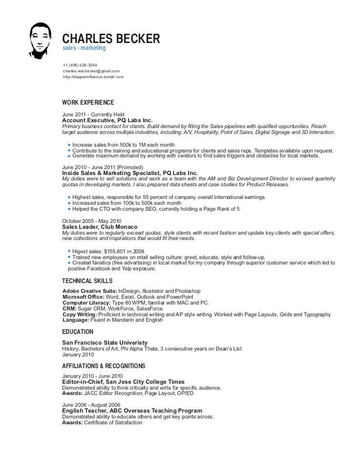 Captivating B2B Sales Resume. CHARLES BECKERsales   Marketing+1 (408)  628 3284charles.wei.becker Pertaining To B2b Sales Resume