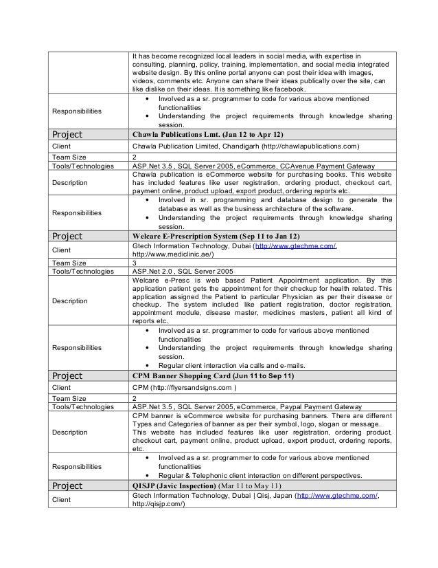 Recommended Resume Format Programmer