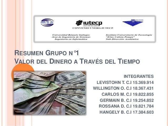 RESUMEN GRUPO N°1 VALOR DEL DINERO A TRAVÉS DEL TIEMPO INTEGRANTES LEVISTOHN T. C.I 15.369.914 WILLINGTON O. C.I 18.367.43...