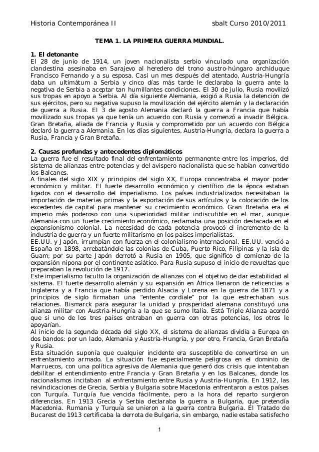 Historia Contemporánea II sbalt Curso 2010/2011 1 TEMA 1. LA PRIMERA GUERRA MUNDIAL. 1. El detonante El 28 de junio de 191...