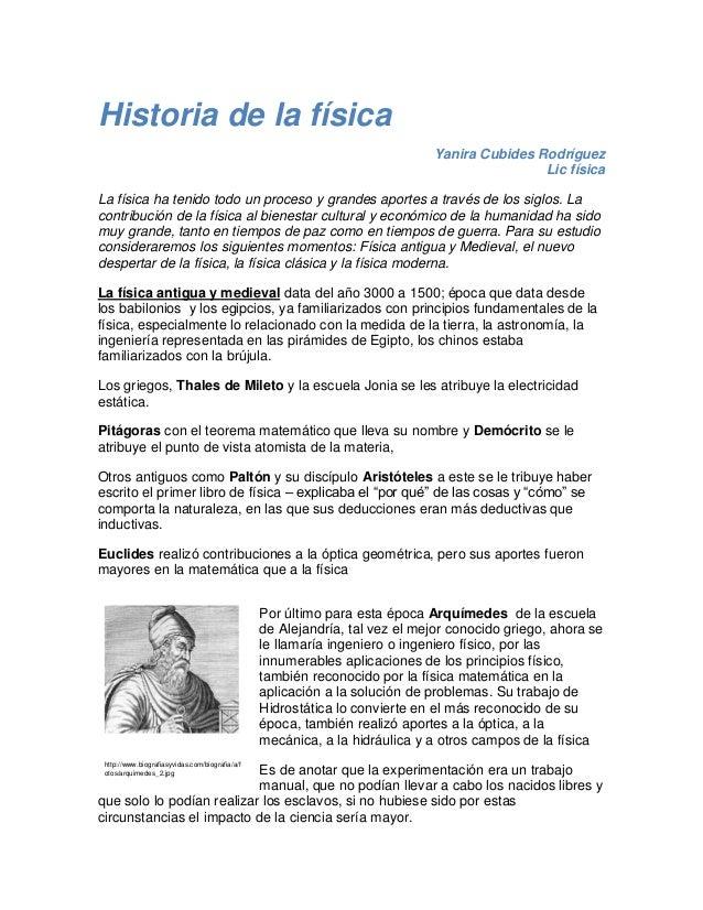 Resumen Historia De La Física