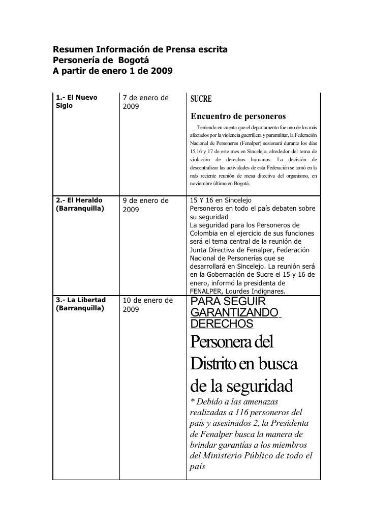 Resumen Información de Prensa escrita Personería de Bogotá A partir de enero 1 de 2009  1.- El Nuevo      7 de enero de   ...