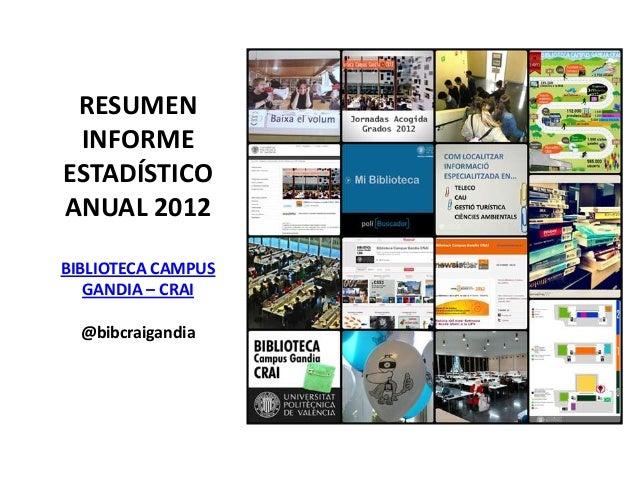 RESUMEN INFORMEESTADÍSTICOANUAL 2012BIBLIOTECA CAMPUS   GANDIA – CRAI  @bibcraigandia