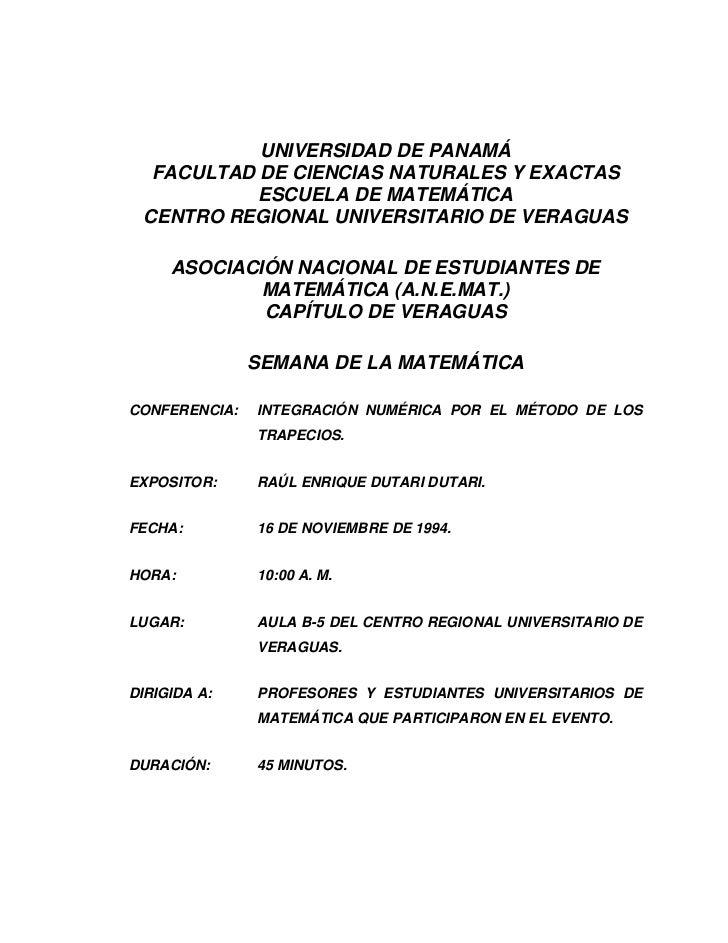 UNIVERSIDAD DE PANAMÁ  FACULTAD DE CIENCIAS NATURALES Y EXACTAS           ESCUELA DE MATEMÁTICA CENTRO REGIONAL UNIVERSITA...