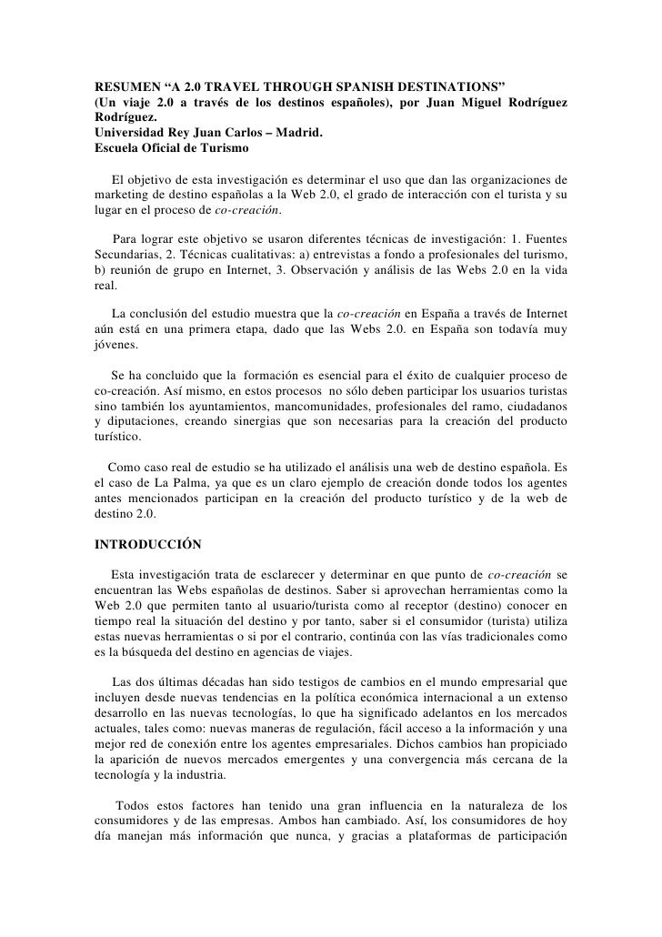 """RESUMEN """"A 2.0 TRAVEL THROUGH SPANISH DESTINATIONS"""" (Un viaje 2.0 a través de los destinos españoles), por Juan Miguel Rod..."""