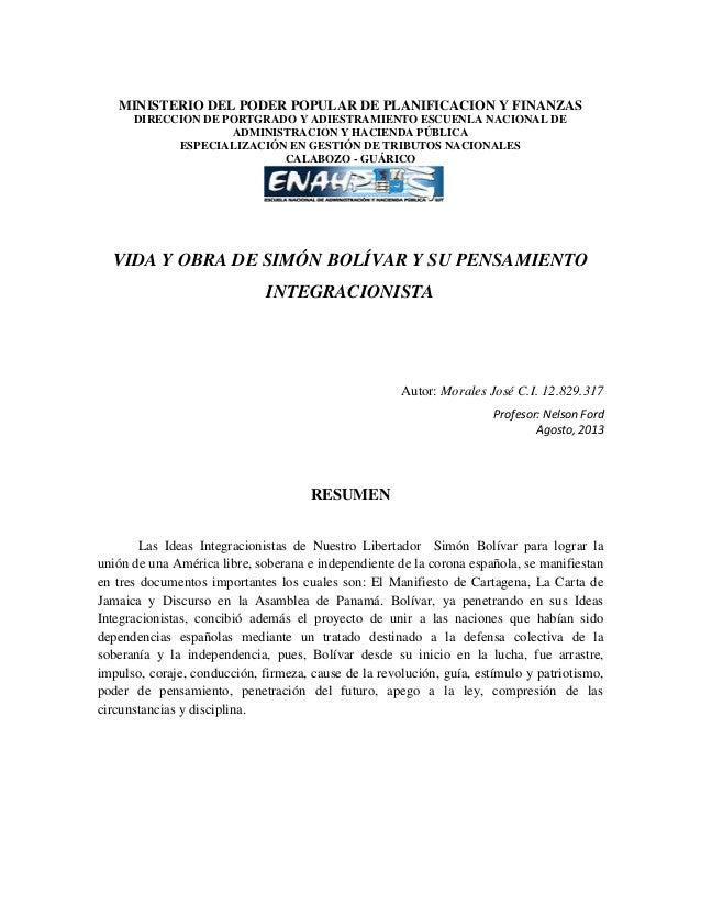 MINISTERIO DEL PODER POPULAR DE PLANIFICACION Y FINANZAS DIRECCION DE PORTGRADO Y ADIESTRAMIENTO ESCUENLA NACIONAL DE ADMI...