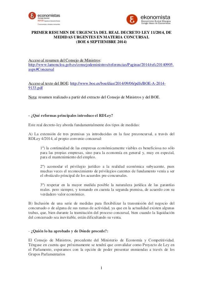 PRIMER RESUMEN DE URGENCIA DEL REAL DECRETO LEY 11/2014, DE  MEDIDAS URGENTES EN MATERIA CONCURSAL  (BOE 6 SEPTIEMBRE 2014...