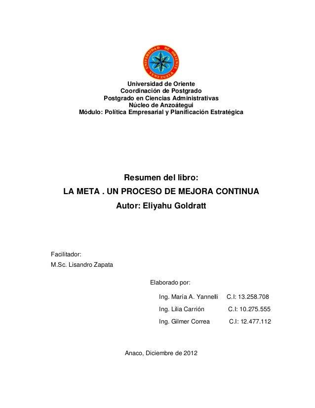 Universidad de Oriente                         Coordinación de Postgrado                   Postgrado en Ciencias Administr...