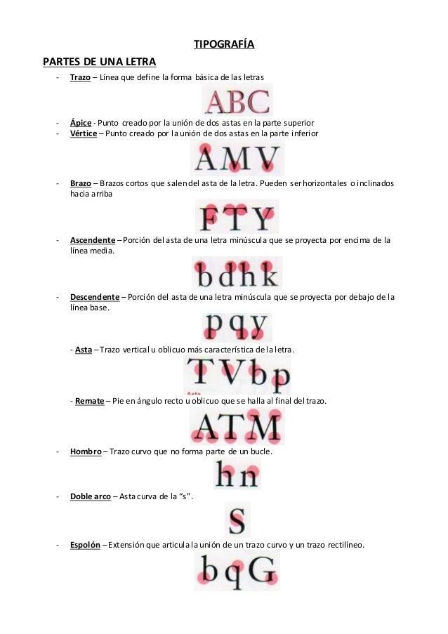 TIPOGRAFÍA PARTES DE UNA LETRA - Trazo – Línea que define la forma básica de las letras - Ápice - Punto creado por la unió...