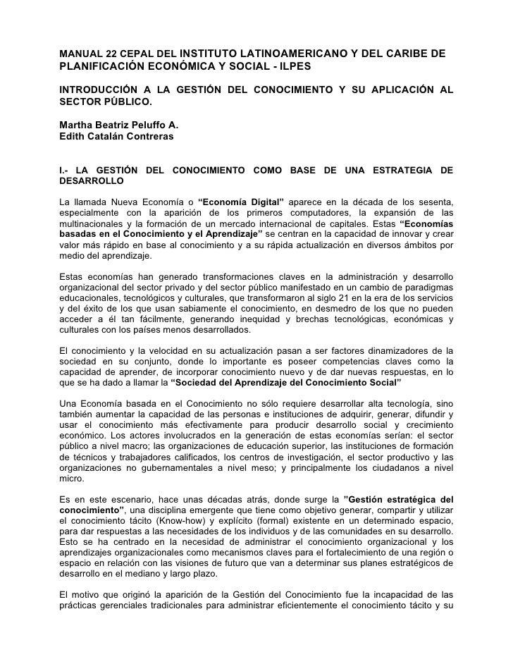 MANUAL 22 CEPAL DEL INSTITUTO LATINOAMERICANO Y DEL CARIBE DE PLANIFICACIÓN ECONÓMICA Y SOCIAL - ILPES  INTRODUCCIÓN A LA ...