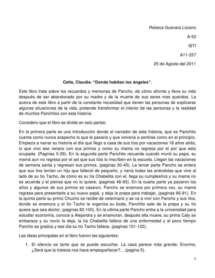 """Rebeca Guevara Lozano<br />A-52<br />ISTI<br />A11-257<br />25 de Agosto del 2011<br />Celis, Claudia. """"Donde habitan los ..."""