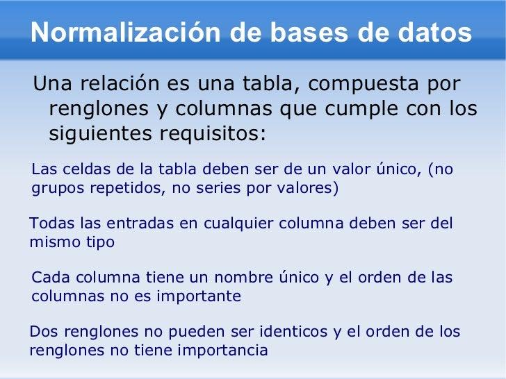 Normalización de bases de datosUna relación es una tabla, compuesta por renglones y columnas que cumple con los siguientes...